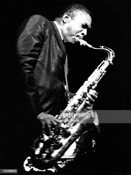 Jazz saxophonist John Coltrane performs onstage in 1961 in New York City New York