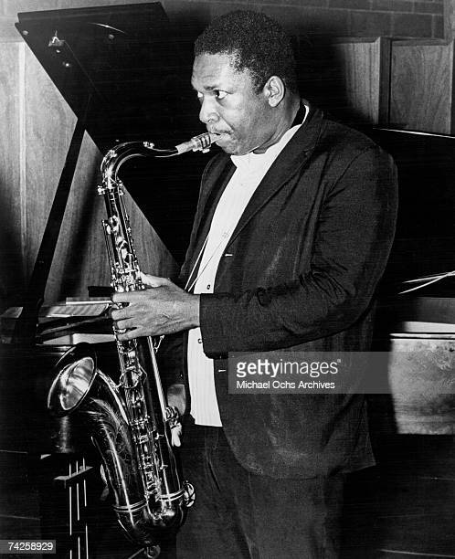 Jazz saxophonist John Coltrane performs onstage in circa 1962