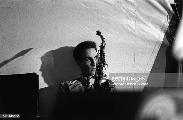 Jazz saxophonist John Lurie waits backstage before his performance at the North Sea Jazz Festival