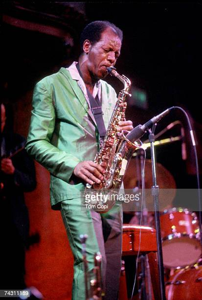 Jazz saxophonist Ornette Coleman performs onstage in circa 1977