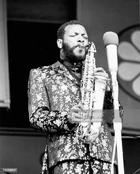Jazz saxophonist Ornette Coleman performs onstage with his saxophone in September 1967
