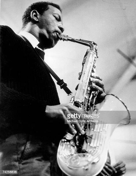 Jazz saxophonist Ornette Coleman performs onstage with his saxophone in circa 1960