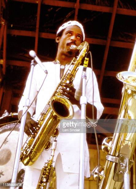 Jazz saxophonist Roscoe Mitchell performing with The Art Ensemble of Chicago at the Ann Arbor Blues Jazz Festival at Otis Spann Memorial Field on...