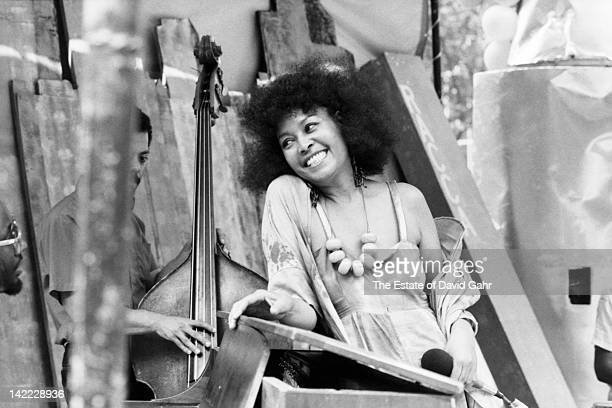 Jazz singer Abbey Lincoln performs on July 28 1983 at Bryant Park in New York City New York