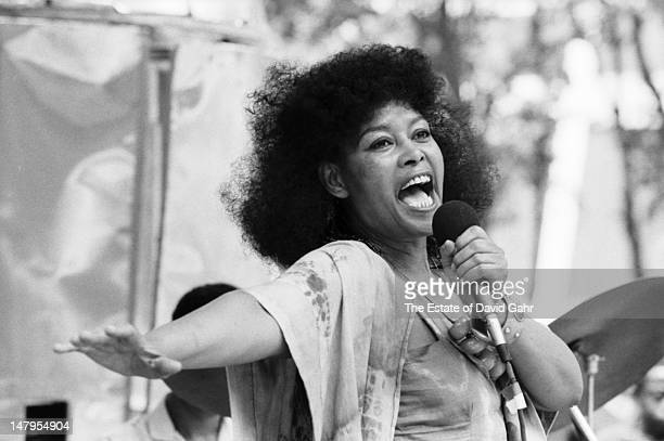 Jazz singer Abbey Lincoln performs on July 28 1983 in Bryant Park New York City New York