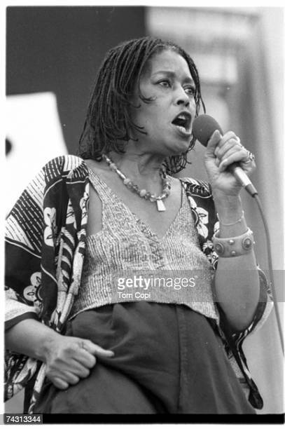 Jazz singer Abbey Lincoln performs onstage in 1985 in Berkeley California