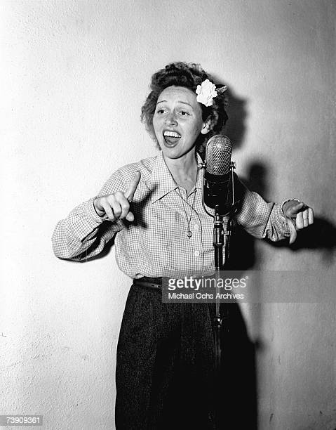 Jazz singer Anita O'Day records in the studio at Capitol Records on February 18 1947 in Los Angeles California