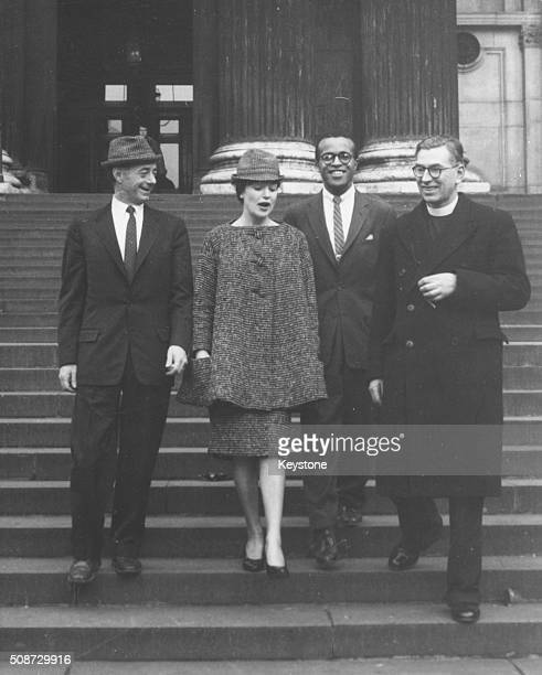 Jazz singer Annie Ross with musicians Dave Lambert and Jon Hendricks and Canon L John Collins on the steps of St Paul's Cathedral following a...