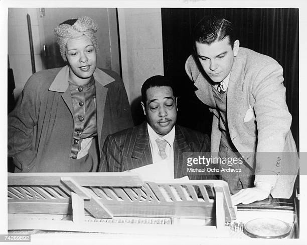 Jazz singer Billie Holiday and composer Duke Ellington rehearse 'Symphony in Black A Rhapsody of Negro Life' in 1935
