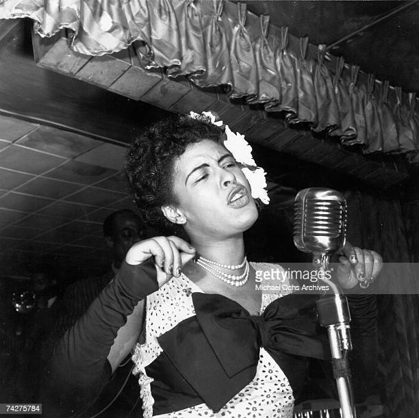 Jazz singer Billie Holiday performs at the Club Downbeat in February 1947 in New York City New York