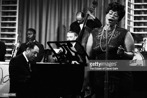 Jazz singer Ella Fitzgerald performs with Duke Ellington at NBCTV Studios in May 1964 in New York City New York