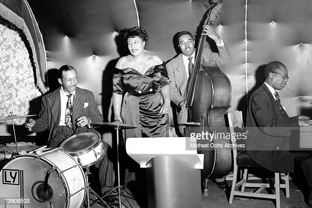 Jazz singer Ella Fitzgerald with drummer Lee Young bassist Ray Brown and pianist Hank Jones perform circa 1948 in los Angeles california