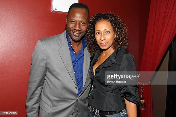 Jazz singer Gregory Generet and actress Tamara Tunie attend the Lakeview Terrace after party at the Empire Hotel Rooftop on September 15 2008 in New...