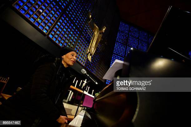 US jazz singer Jocelyn B Smith poses during an Oecumenic memorial service for the victims of last year's deadly truck attack at the Christmas market...