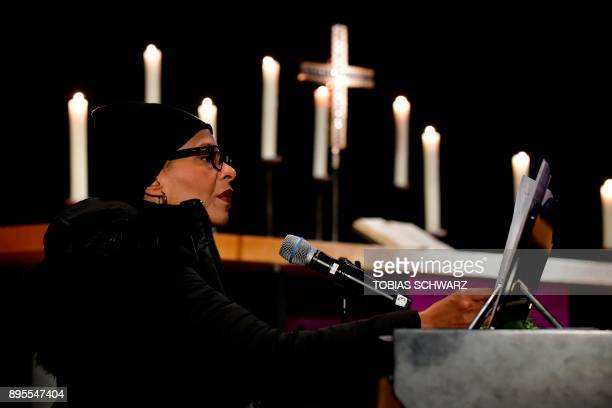 US jazz singer Jocelyn B Smith sings during an Oecumenic memorial service for the victims of last year's deadly truck attack at the Christmas market...