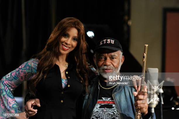 Jazz singer Kaylene Peoples and flutist Hubert Laws attend the Kaylene Peoples My Man Recording Session with Hubert Laws at The Mouse House Studio on...