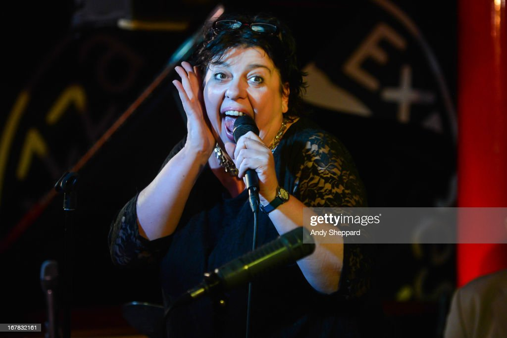Jazz singer Liane Carroll performs on stage at Pizza Express Jazz Club on April 25, 2013 in London, England.