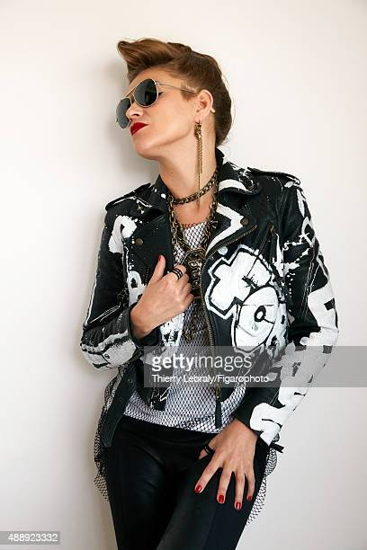 Jazz singer Melody Gardot is photographed for Madame Figaro on June 16, 2015 in Paris, France. Jacket , top, necklace and earrings , rings , pants...