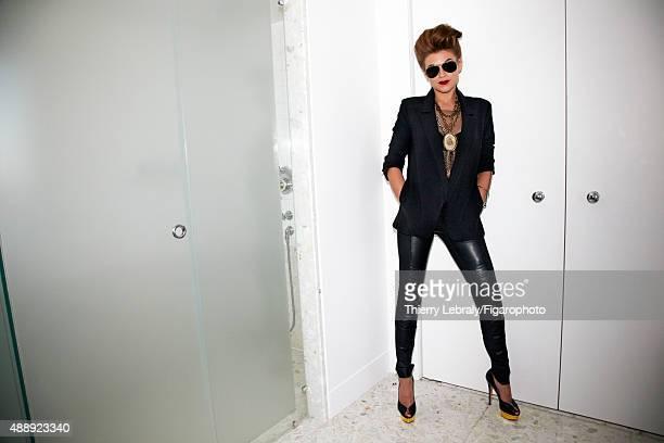 Jazz singer Melody Gardot is photographed for Madame Figaro on June 16, 2015 in Paris, France. Jacket , top , pants , bra , necklaces , bracelet...
