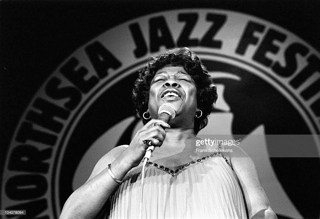 Jazz singer Sarah Vaughan performs on stage at The North Sea Jazz Festival on July 12 1981 in The Hague, Netherlands.