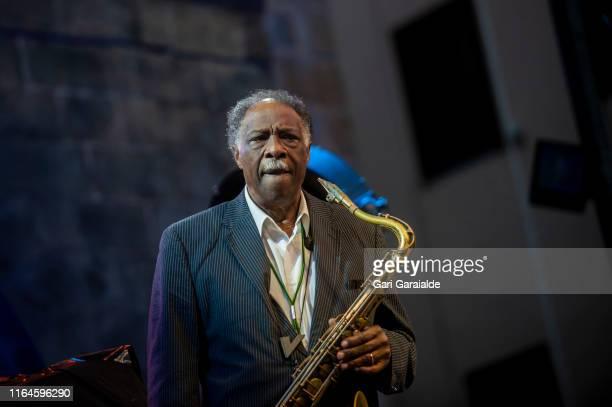 Jazz tenor saxophonist Houston Person performs onstage during 54th edition of Heineken Jazzaldia Festival on July 27, 2019 in San Sebastian, Spain.