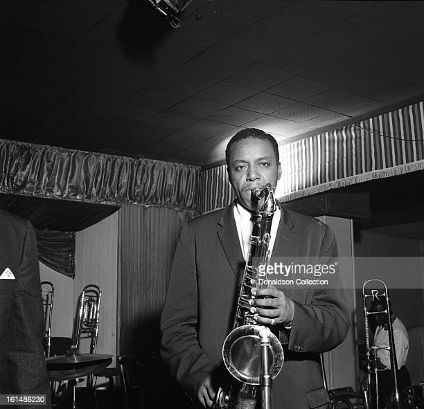 Jazz tenor saxophonist Jimmy Forrest performs onstage at Birdland night club in October 1958 in New York New York