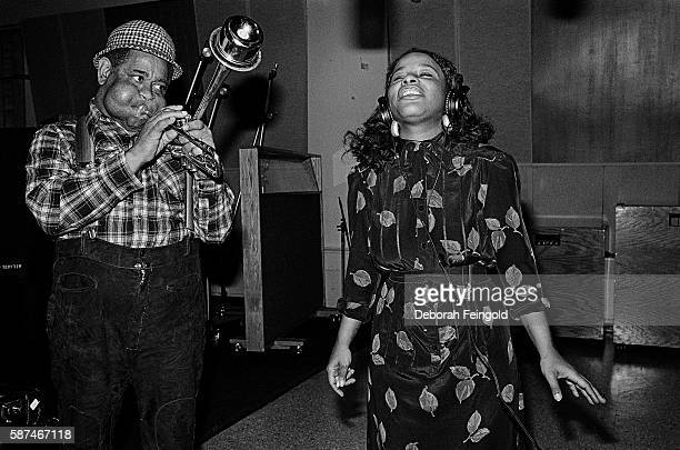 Jazz trumpet player Dizzy Gillespie with singer Chaka Khan recording 'A Night in Tunis' in February 1981 in New York City New York