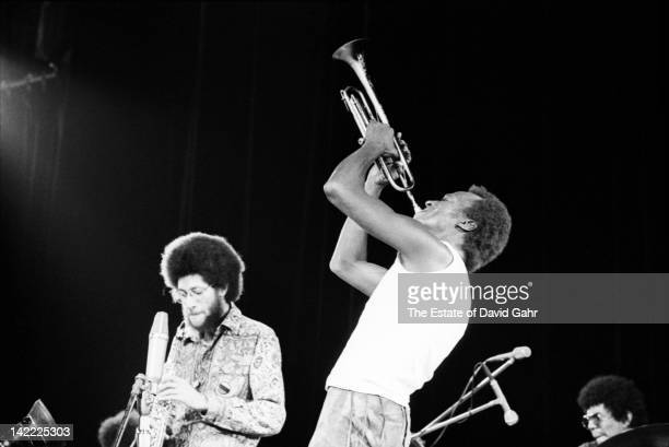 Jazz trumpeter and composer Miles Davis performs with Gary Bartz on saxophone and Jack DeJohnette on drums in August 1970 at the Tanglewood Music...