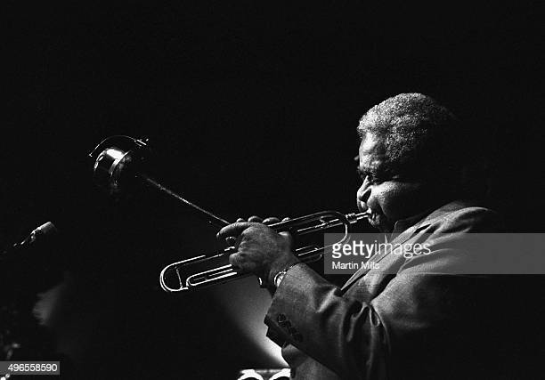 Jazz trumpeter Dizzy Gillespie performs at the Vine Street Bar and Grill in Hollywood circa 1985 in Los Angeles California