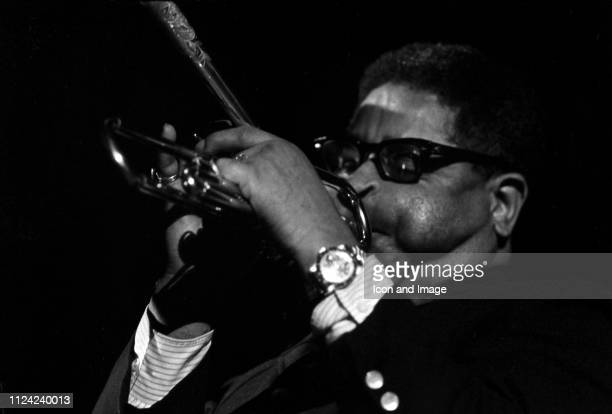 Jazz trumpeter Dizzy Gillespie plays his famous bent trumpet circa 1965 in St. Louis, Missouri.