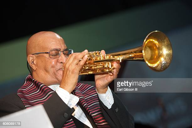 Jazz trumpeter Jimmy Owens performs at the 21st Anniversary Celebration Jazz Concert at Walter E Washington Convention Center on September 15 2016 in...