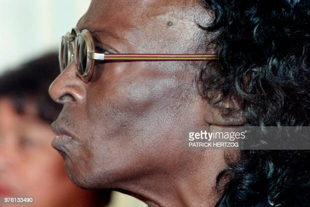 US jazz trumpeter Miles Davis is pictured during the ceremony making him a Knight in the French Legion of Honor in Paris on July 16 1991