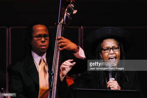 Jazz vocalist Abbey Lincoln performs with Michael Bowie on upright acoustic bass at a JVC Festival concert at Carnegie Hall New York New York June 20...