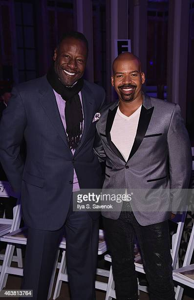 Jazz vocalist Gregory Generet and Lloyd Boston attend the B Michael America fashion show during MercedesBenz Fashion Week Fall 2015 at New York...