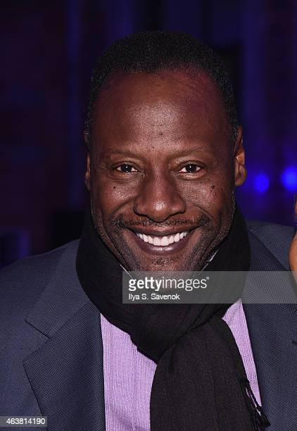 Jazz vocalist Gregory Generet attends the B Michael America fashion show during MercedesBenz Fashion Week Fall 2015 at New York Public Library on...