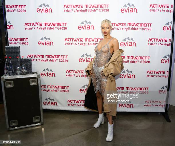 Jazzalle attends the Evian Virgil Abloh Collaboration party at Milk Studios on February 10 2020 in New York City
