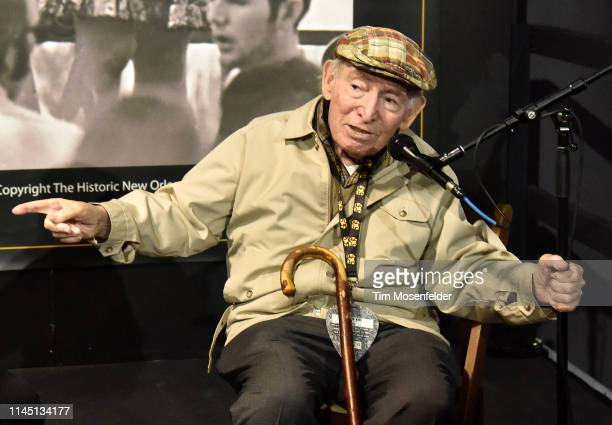 Jazzfest founder George Wein is interviewed during the 2019 New Orleans Jazz Heritage Festival 50th Anniversary at Fair Grounds Race Course on April...