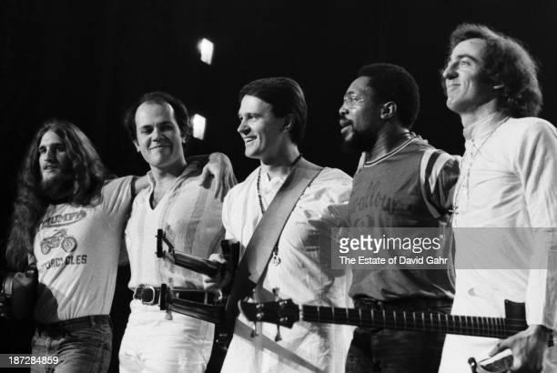 Jazz-fusion group Mahavishnu Orchestra on stage in February 1973 in New York City, New York.