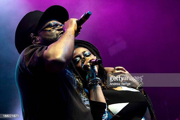 Jazzie B and Caron Wheeler of Soul II Soul perform on stage at The Ritz Manchester on November 14 2013 in Manchester United Kingdom