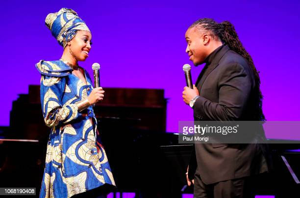 Jazzmeia Horn and Jamison Ross perform during the 2018 Thelonious Monk Institute Of Jazz International Piano Competition at the Kennedy Center...