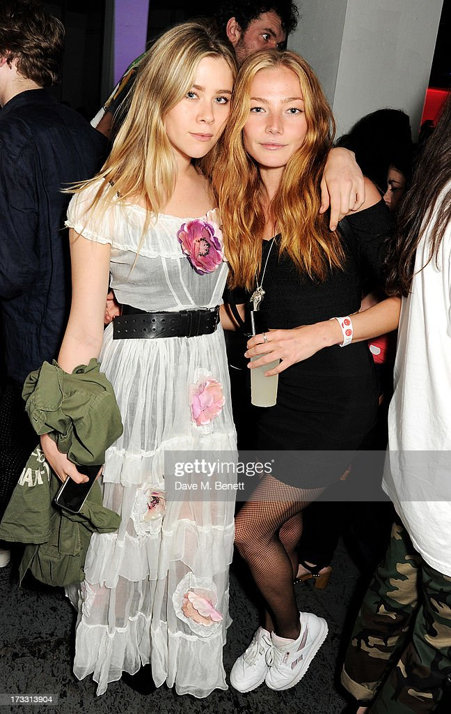 Jazzy de Lisser (L) and Clara Paget attend the Palace Skateboards x Reebok collaboration launch party at the Victorian Vaults on July 11, 2013 in London, England.