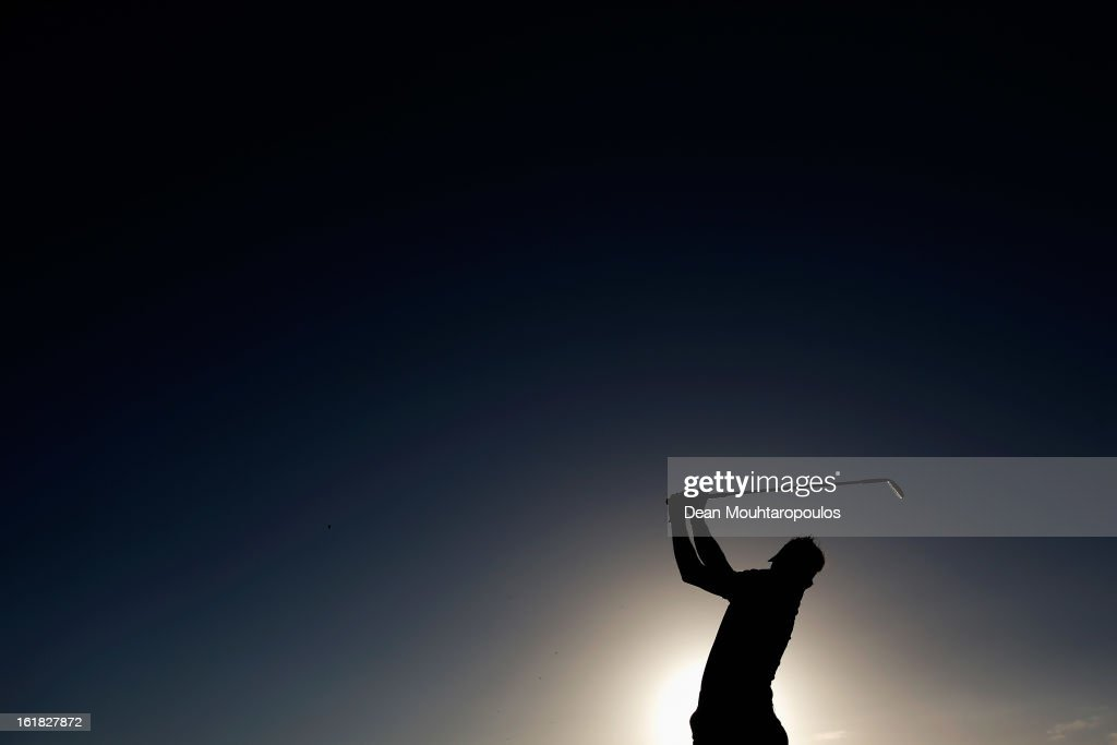 Jbe Kruger of South Africa hits a practice shot on the driving range prior to the Final Day of the Africa Open at East London Golf Club on February 17, 2013 in East London, South Africa.