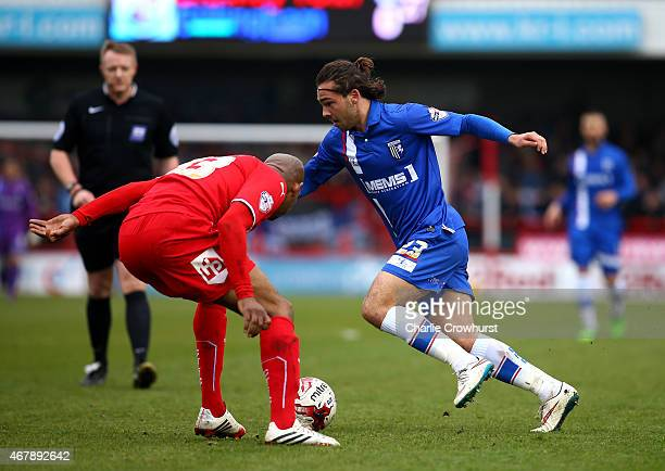 JBradley Dack of Gllingham attacks during the Sky Bet League One match between Crawley Town and Gillingham at The Checkatradecom Stadium on March 28...