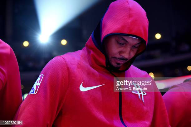 JCarmelo Anthony of the Houston Rockets stands for the National Anthem before the game against the LA Clippers on October 21 2018 at Staples Center...