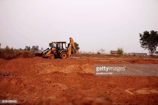 Jcb crane working near sand quarry