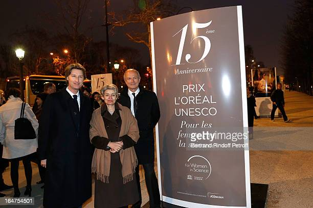 JCDecaux President of the Management Board JeanCharles Decaux UNESCO General Director Irina Bokova and L'Oreal President JeanPaul Agon attend Opening...