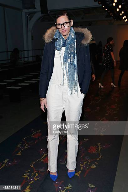 Crew creative director Jenna Lyons attends the Giulietta fashion show during MercedesBenz Fashion Week Fall 2014 at Pier 59 on February 9 2014 in New...