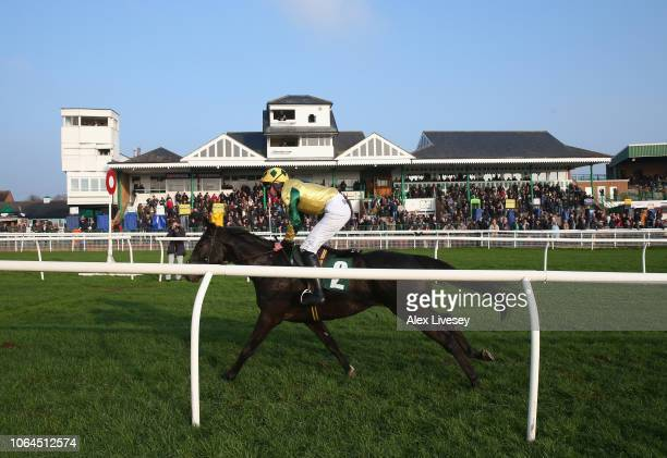 Je Suis Charlie ridden by Connor King crosses the line to win the Jump Season Starts Now Novices' Hurdle Race at Catterick Racecourse on November 23...
