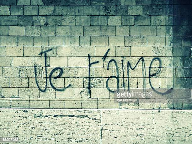 je t'aime - wall building feature stock photos and pictures