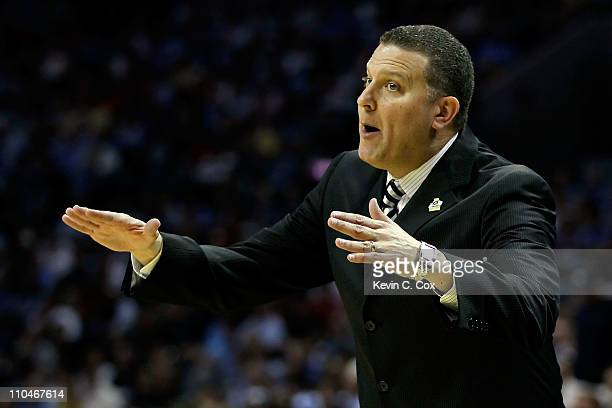Jead coach Jim Ferry of the Long Island Blackbirds reacts in the first half while taking on the North Carolina Tar Heels during the second round of...